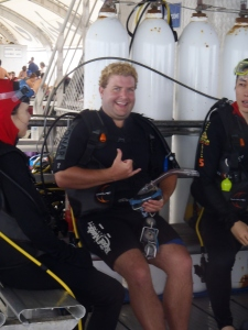 Ryan getting suited up to dive the great barrier reef