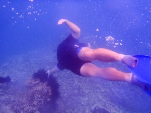 Ryan swims down to touch a piece of coral