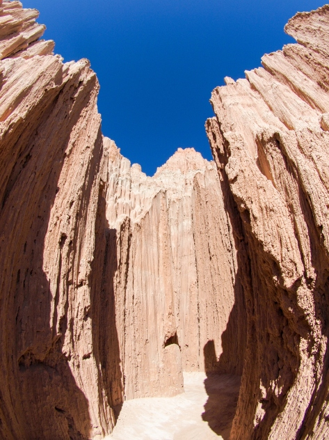 Fish-eye view of the eroded canyons.