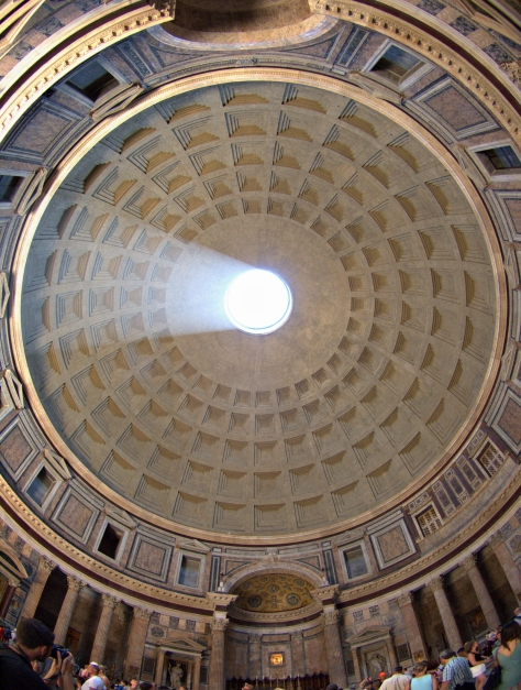 Looking up at the dome of the Pantheon.  Taken with a fish-eye lens.