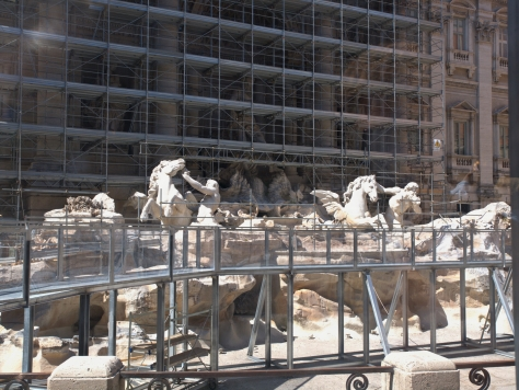 The Trevi Fountain under construction