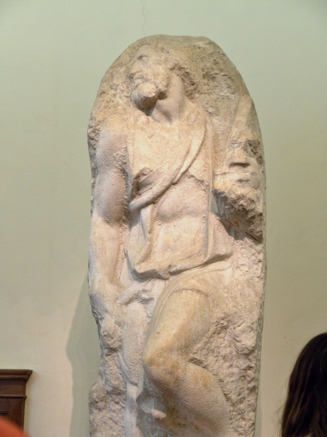 One of Michelangelo's unfinished sculptures.