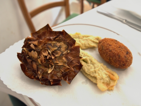 Famous fried artichoke from the Jewish Ghetto.