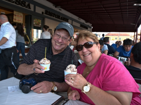 Rachel's parents enjoying some gelato after a long day.