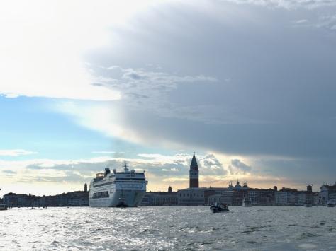 A cruise ship leaving Venice