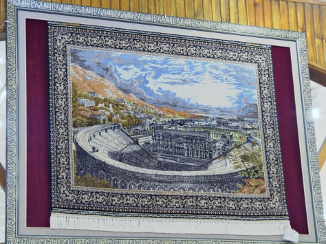 A beautiful and extremely detailed silk rug.