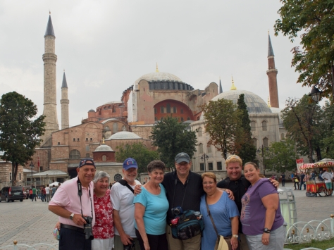 The entire groupin front of Hagia Sophia.