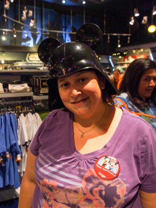 Rockin' the Darth Vader Mickey ears.