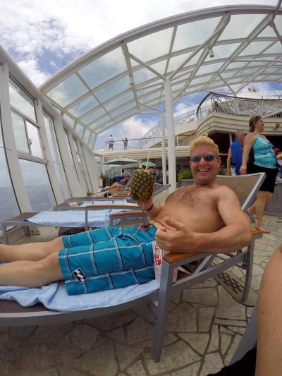 Ryan enjoying a pina colada in a pineapple. #toughlife #dietresumesmonday #wheredidtherumgo #cruiselife