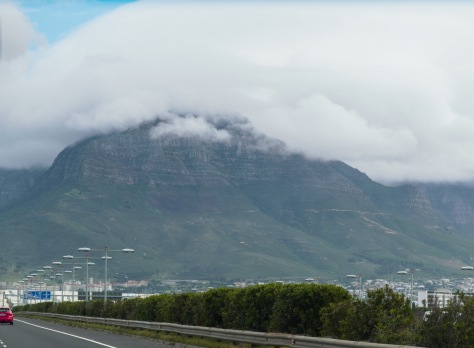 Table Mountain covered in clouds.