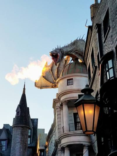 Diagon Alley - the fire-breathing dragon escaping Gringotts.